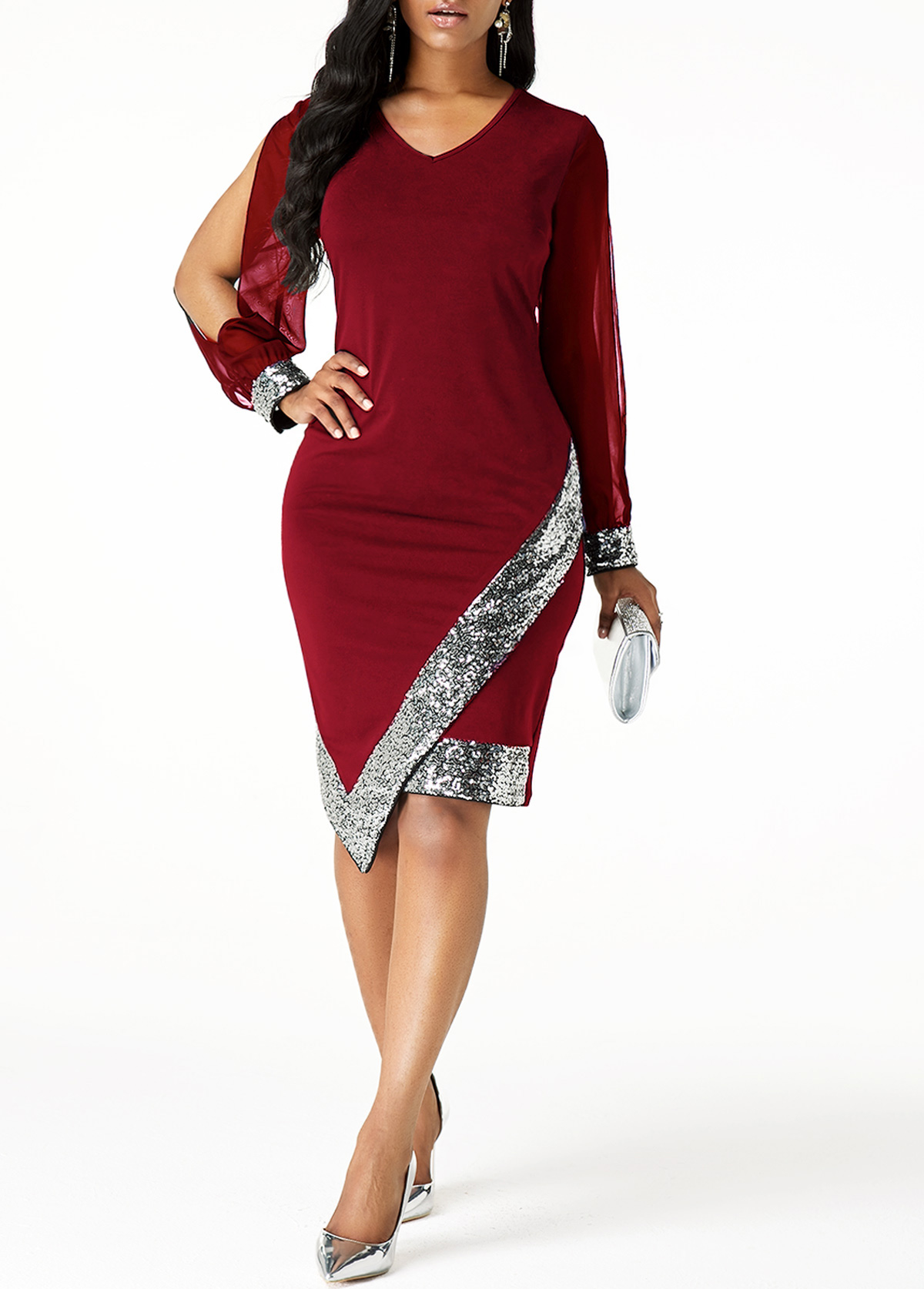 Sequin Panel Asymmetric Hem Cutout Sleeve Sheath Dress