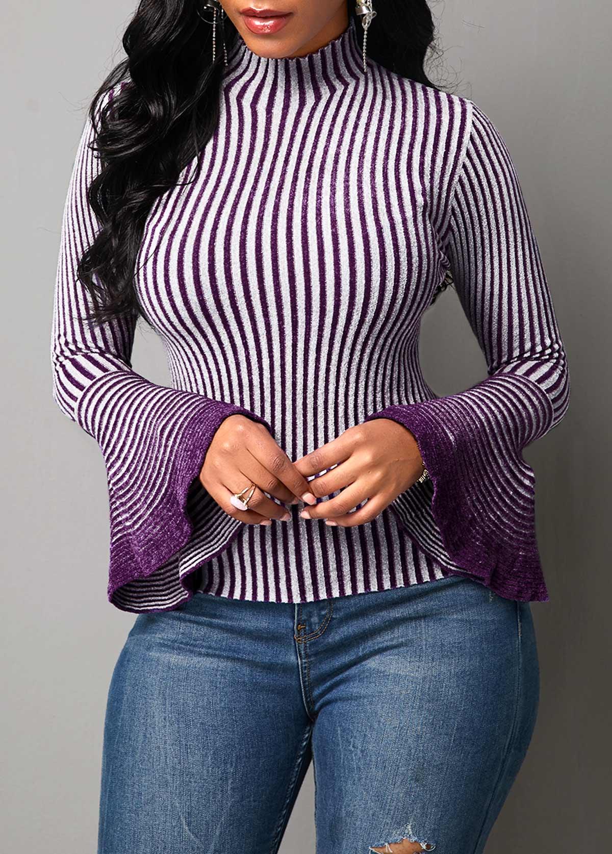 ROTITA Flare Sleeve High Neck Stripe Pattern Sweater