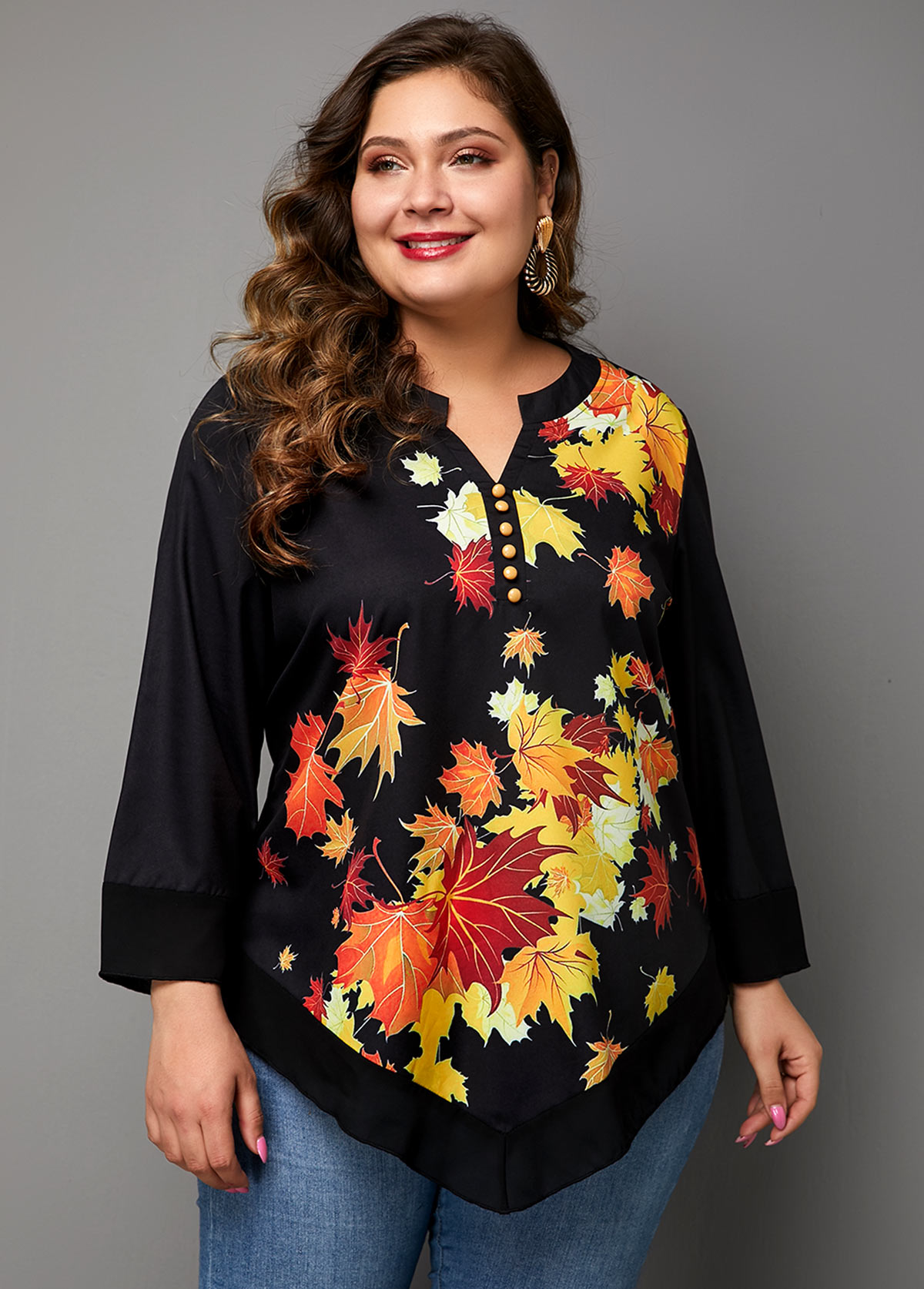 Asymmetric Hem Plus Size Split Neck Printed T Shirt