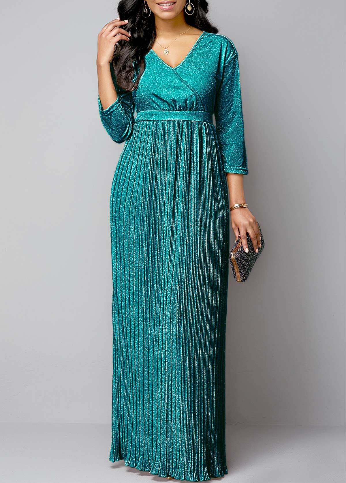 ROTITA Pleated Hem Hot Stamping Plunging Neck Maxi Dress