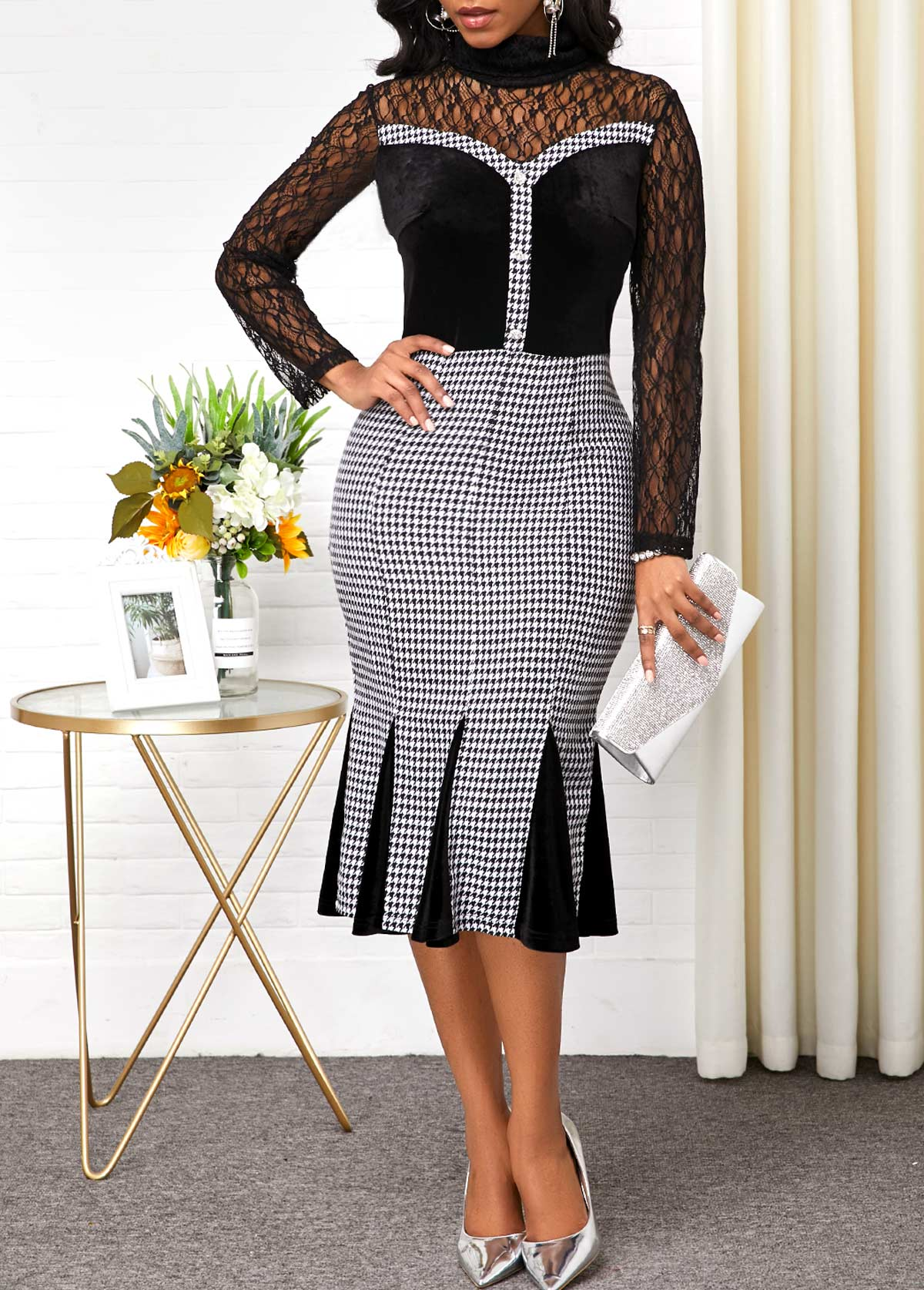 Lace Panel Back Zipper Houndstooth Print Dress