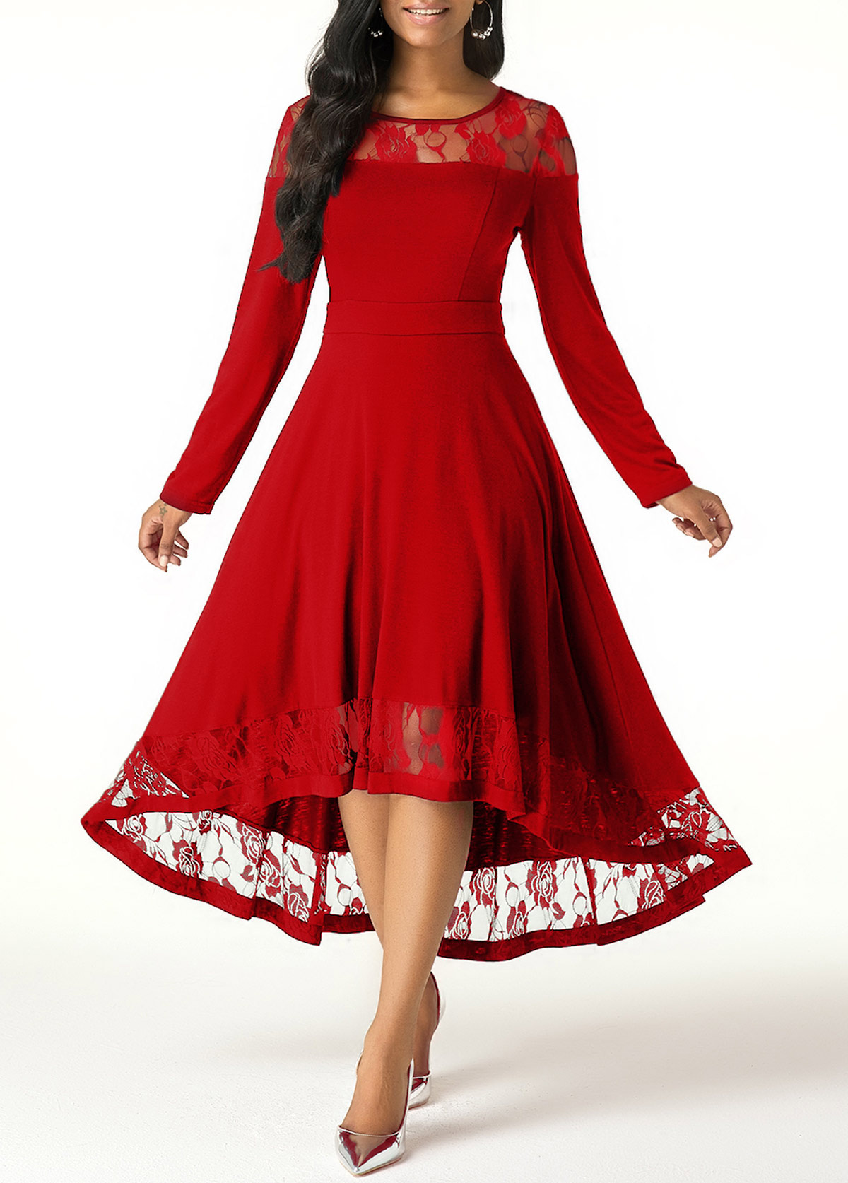 Long Sleeve Lace Panel High Low Dress