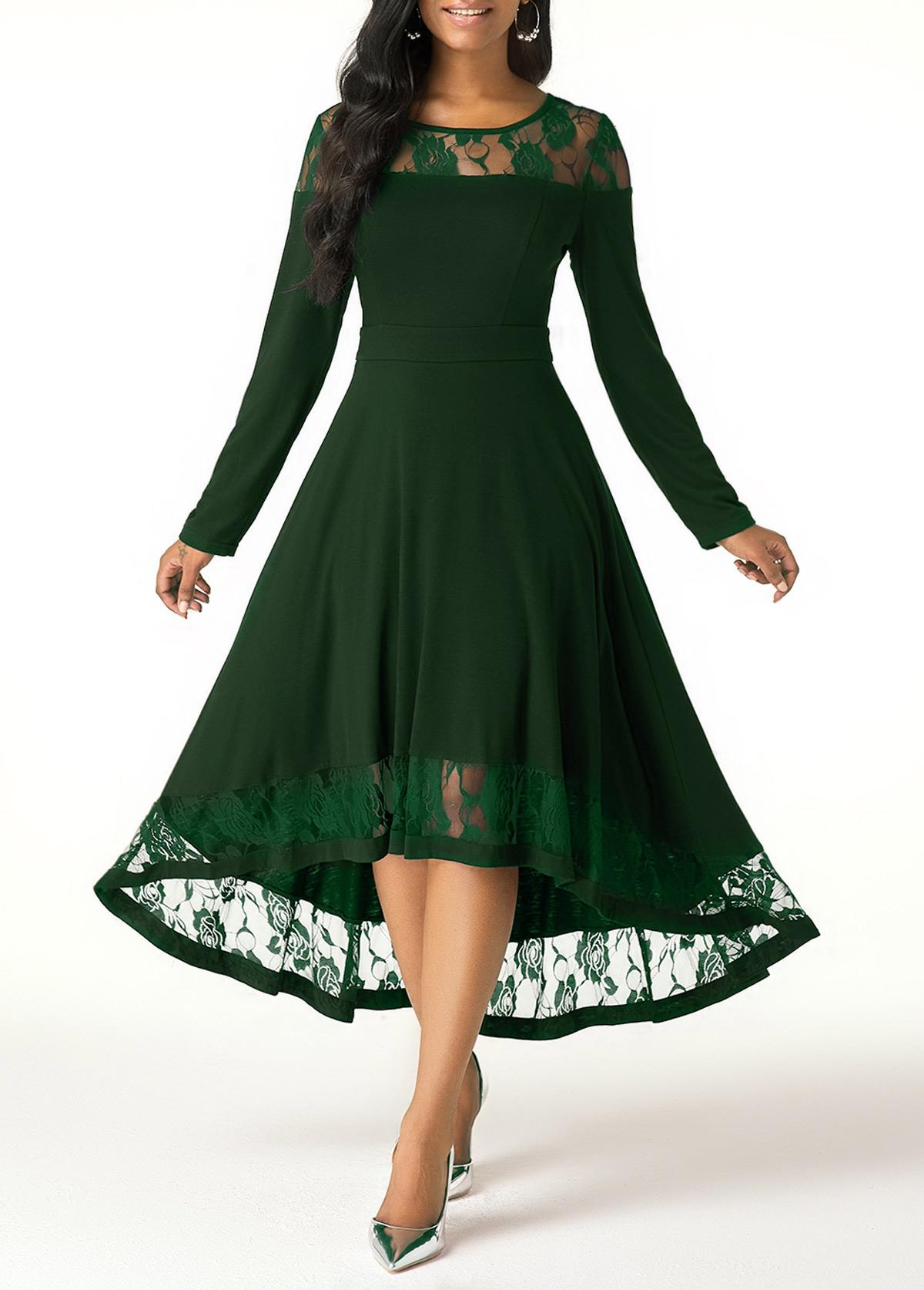ROTITA Lace Panel Green Long Sleeve High Low Dress