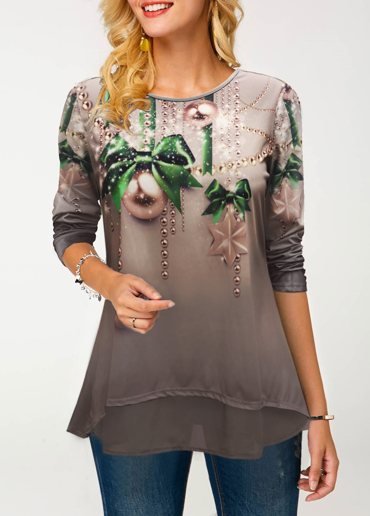 ROTITA Long Sleeve Printed Round Neck T Shirt