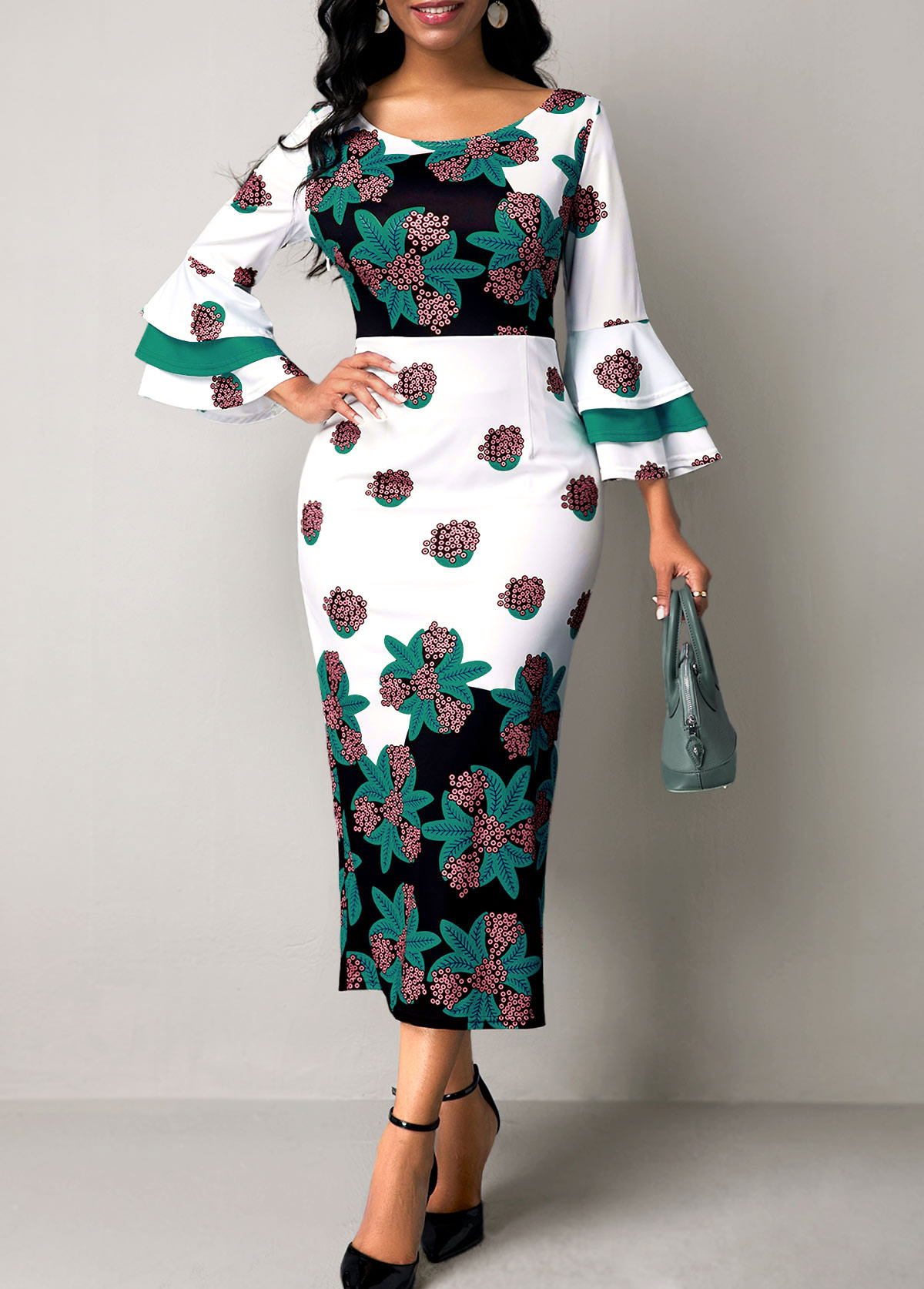 ROTITA Flare Sleeve Flower Print Round Neck Dress