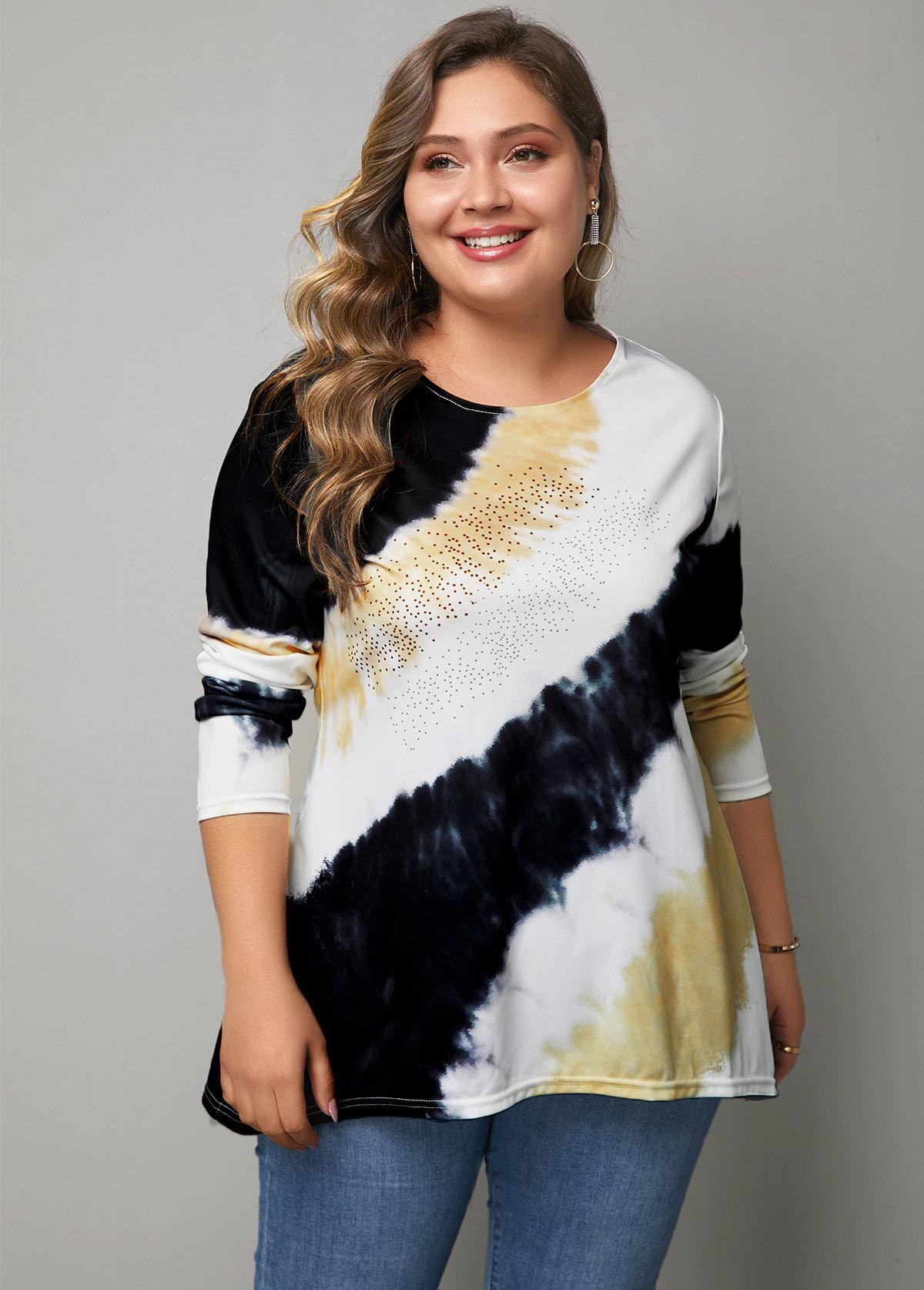 ROTITA Round Neck Tie Dye Print Long Sleeve T Shirt