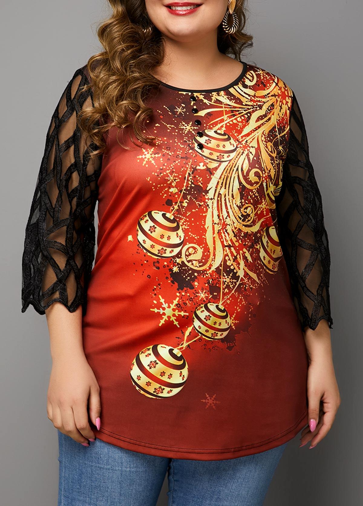ROTITA Mesh Stitching Christmas Print Round Neck T Shirt