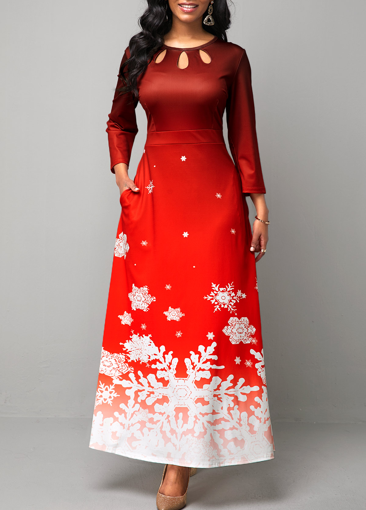 Cutout Front Christmas Snowflake Print Maxi Dress
