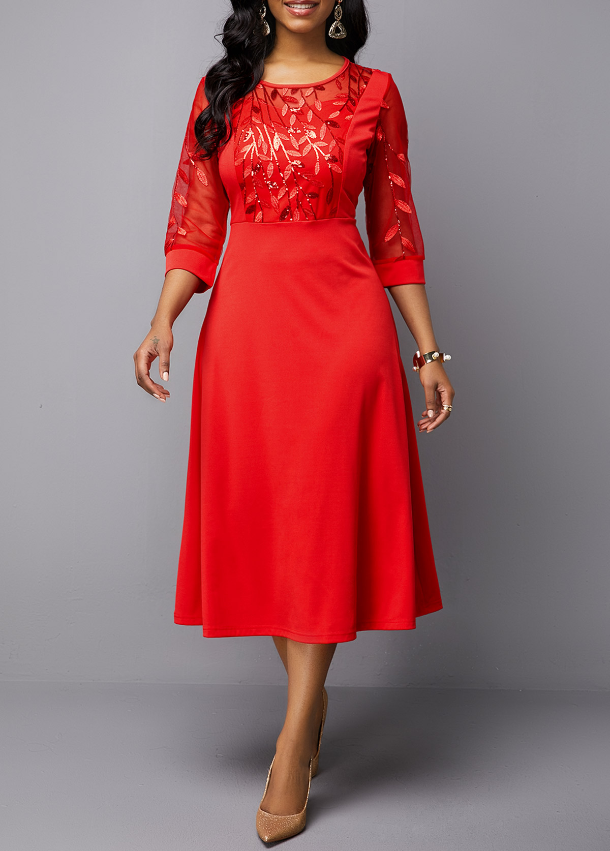 Embroidered Mesh Panel Red Round Neck Dress