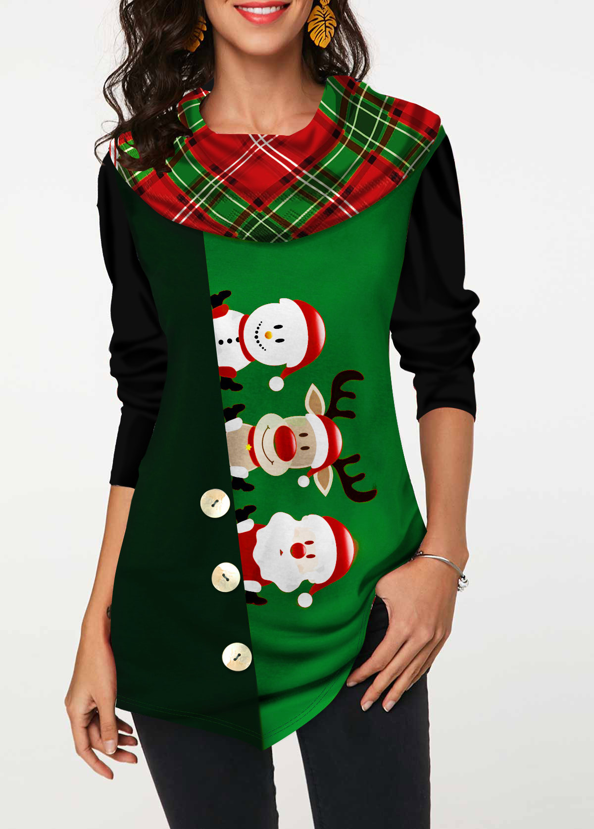 Button Embellished Christmas Print Long Sleeve T Shirt