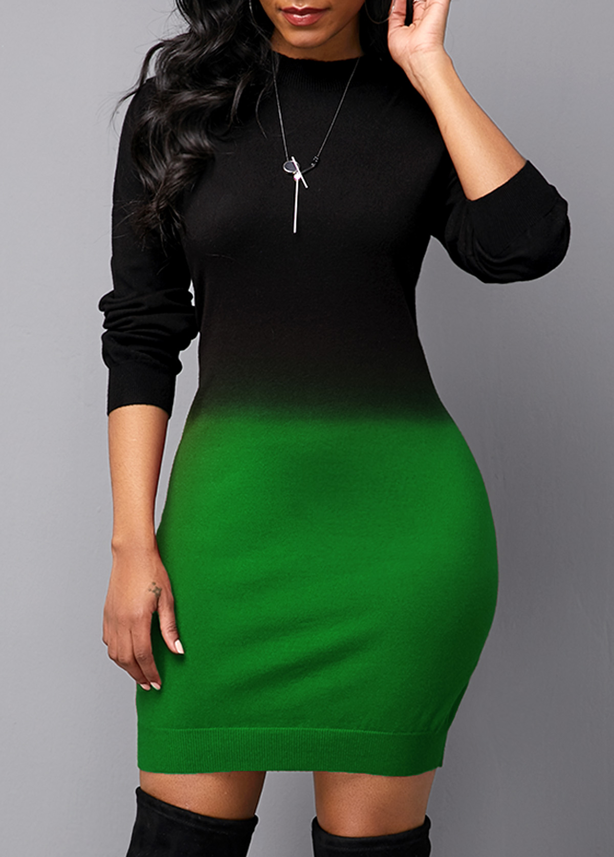 ROTITA Gradient Round Neck Long Sleeve Sweater Dress