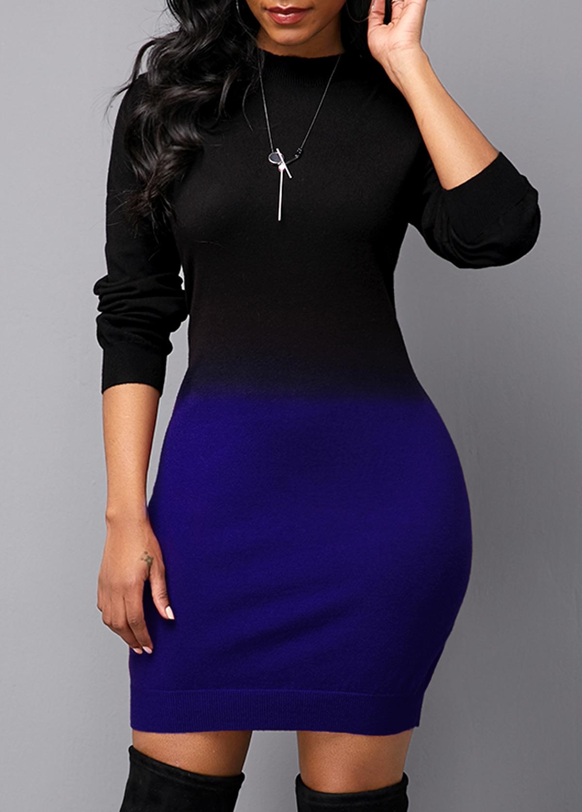 Gradient Round Neck Long Sleeve Sweater Dress