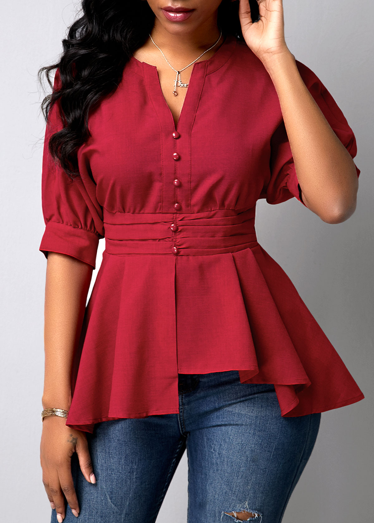 Peplum Waist Wine Red Button Detail Blouse