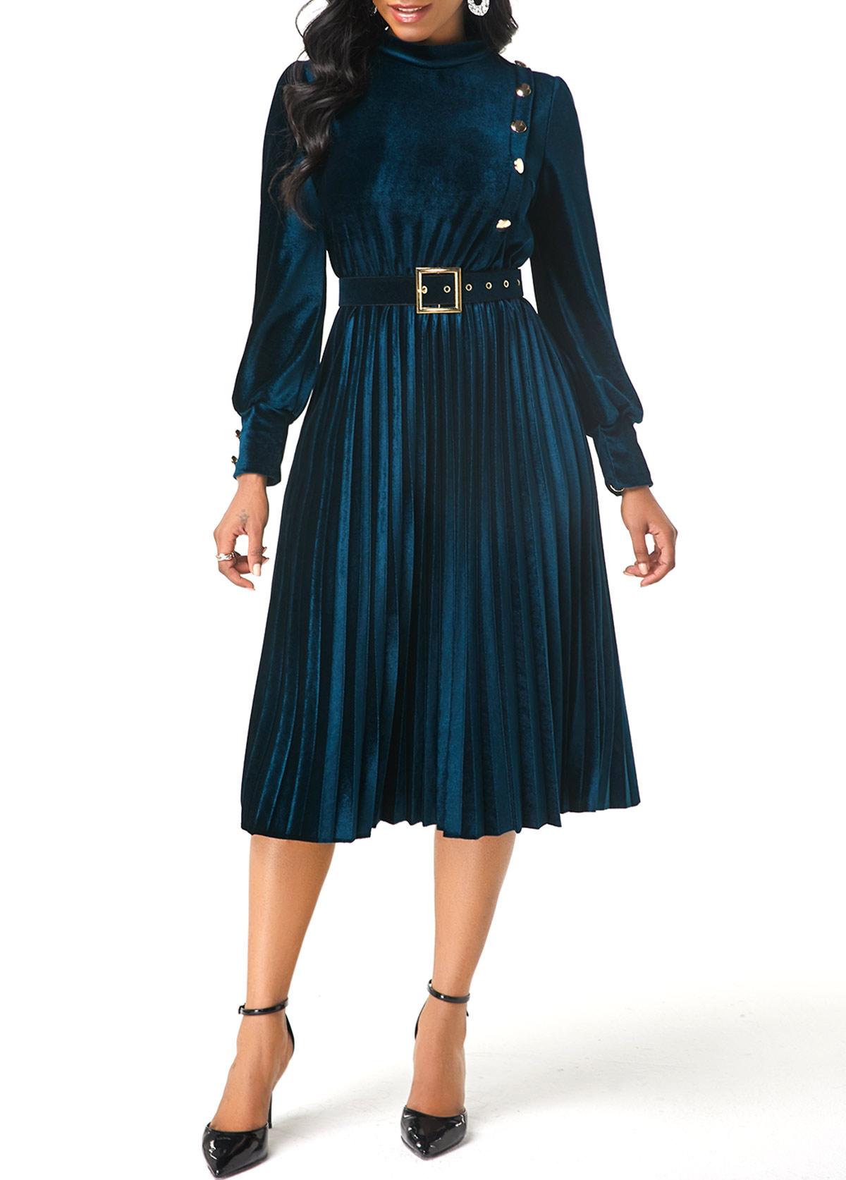 Button Decorated Long Sleeve Velvet Dress