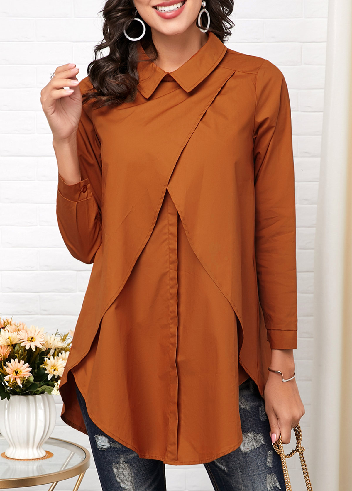 ROTITA Turndown Collar Cross Front Long Sleeve Blouse