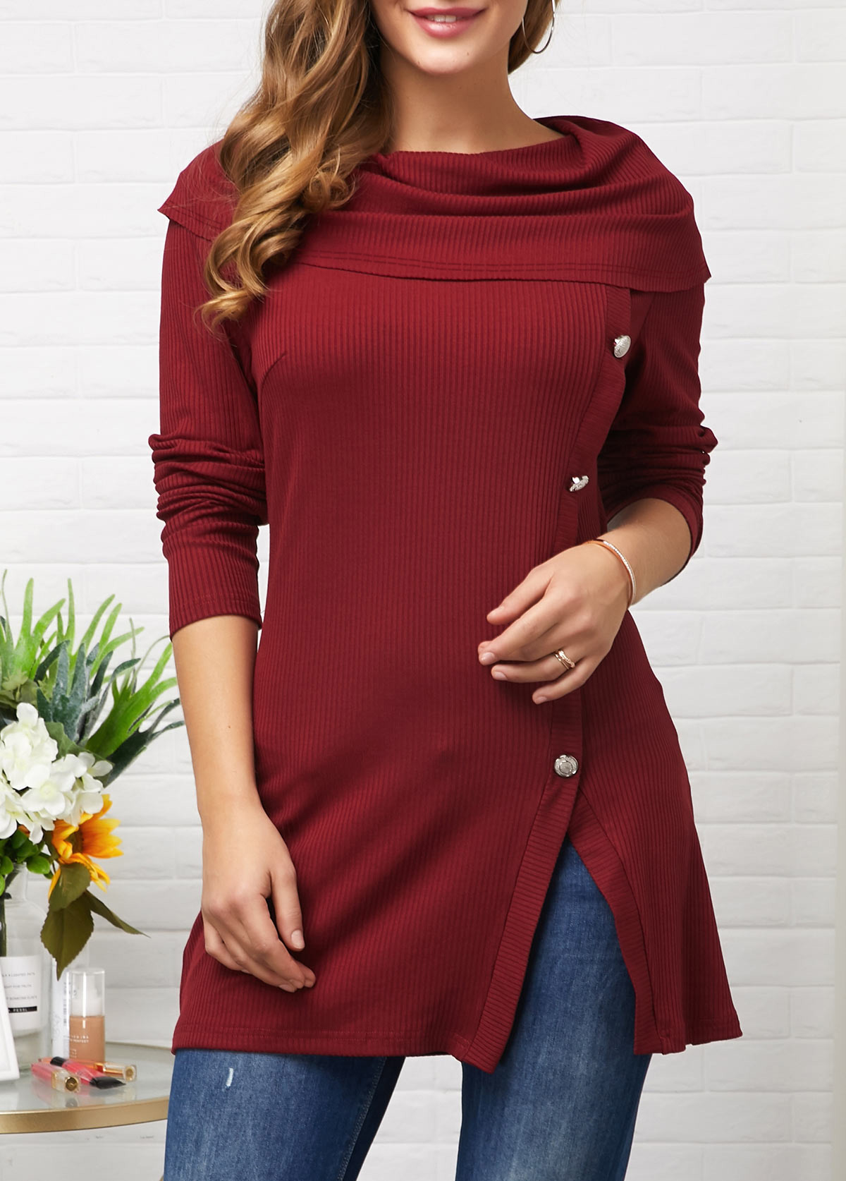 ROTITA Cowl Neck Wine Red Button Decorated Tunic Top