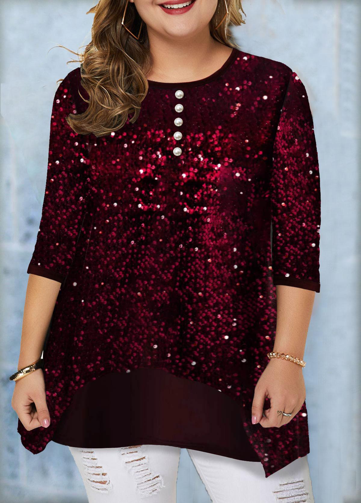 Plus Size Sequin Panel Button Detail T Shirt