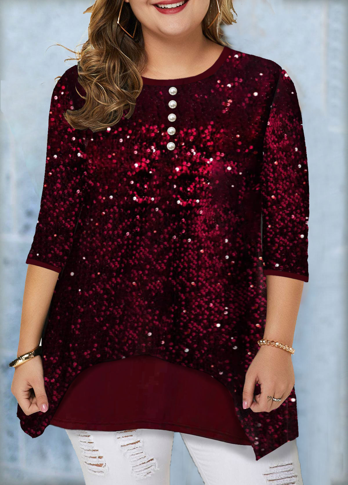 ROTITA Plus Size Sequin Panel Button Detail Tunic Top