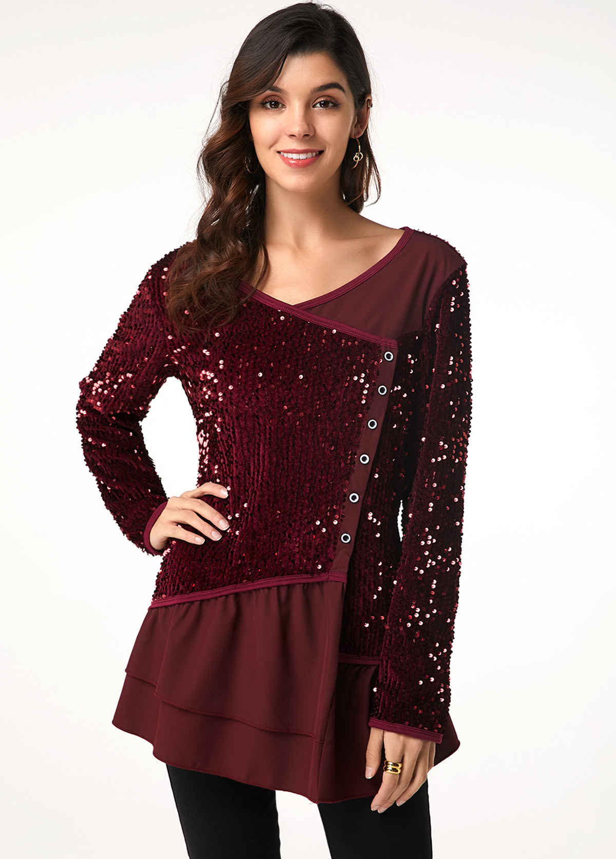 Long Sleeve Button Detail Sequin Embellished T Shirt