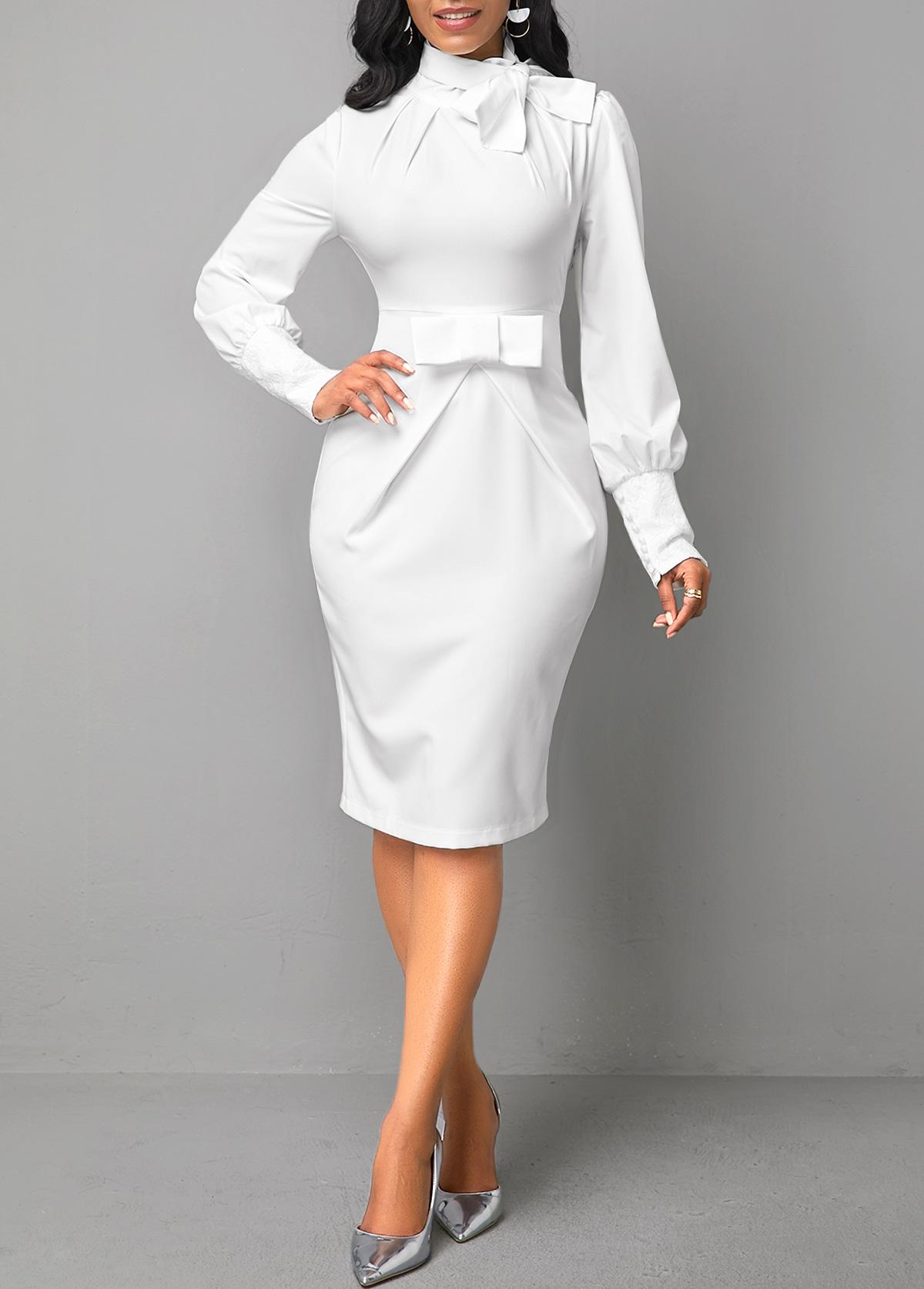 ROTITA White Bow Collar Long Sleeve Dress
