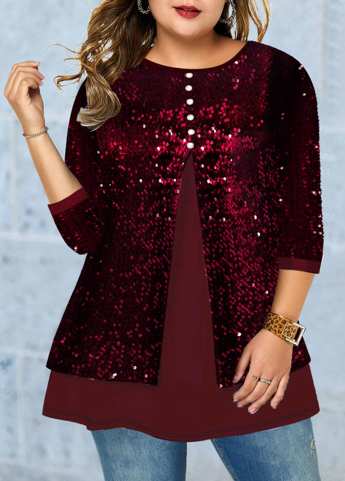 ROTITA Plus Size Button Detail Sequin Panel T Shirt