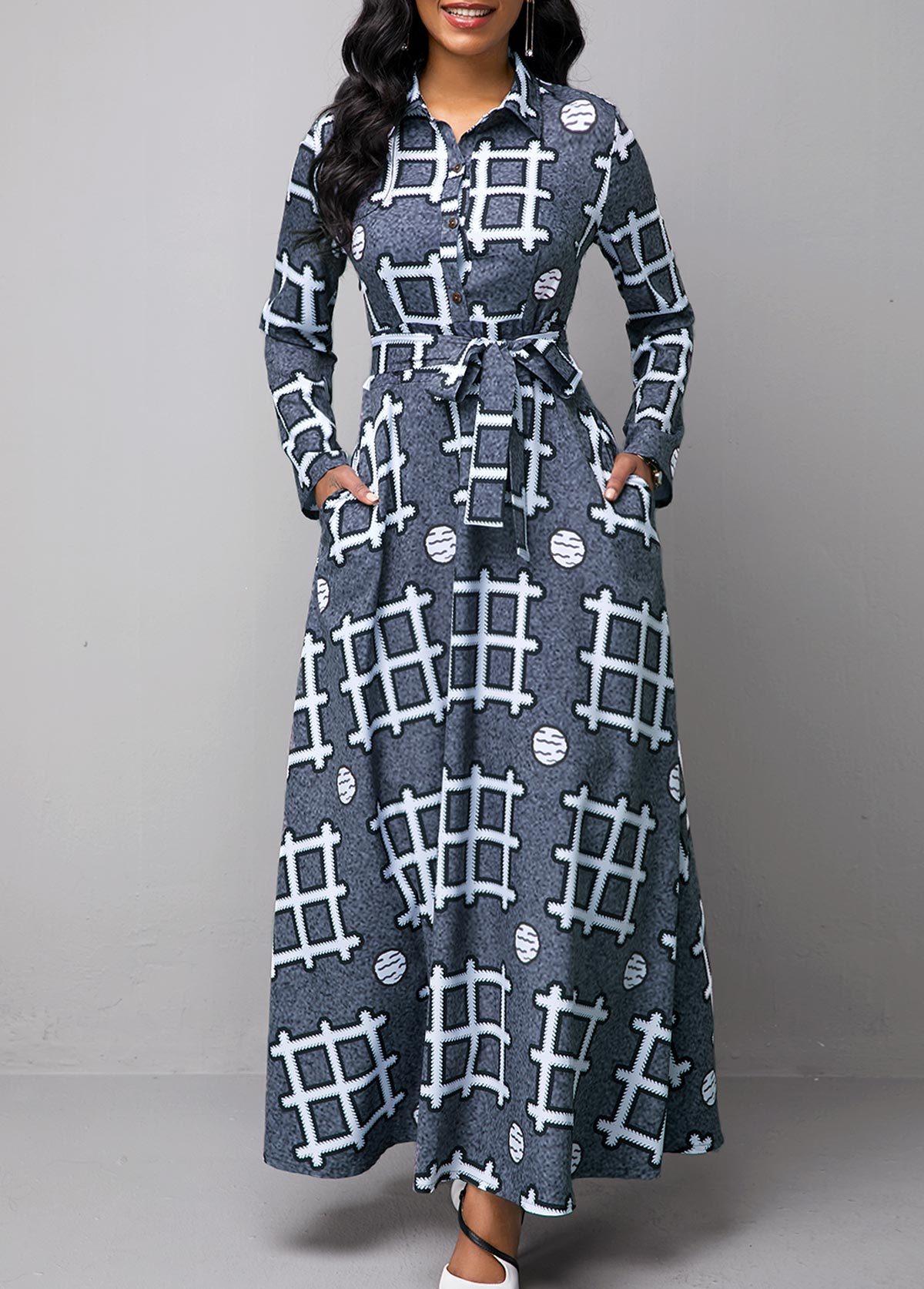 ROTITA Long Sleeve Geometric Print Turndown Collar Dress