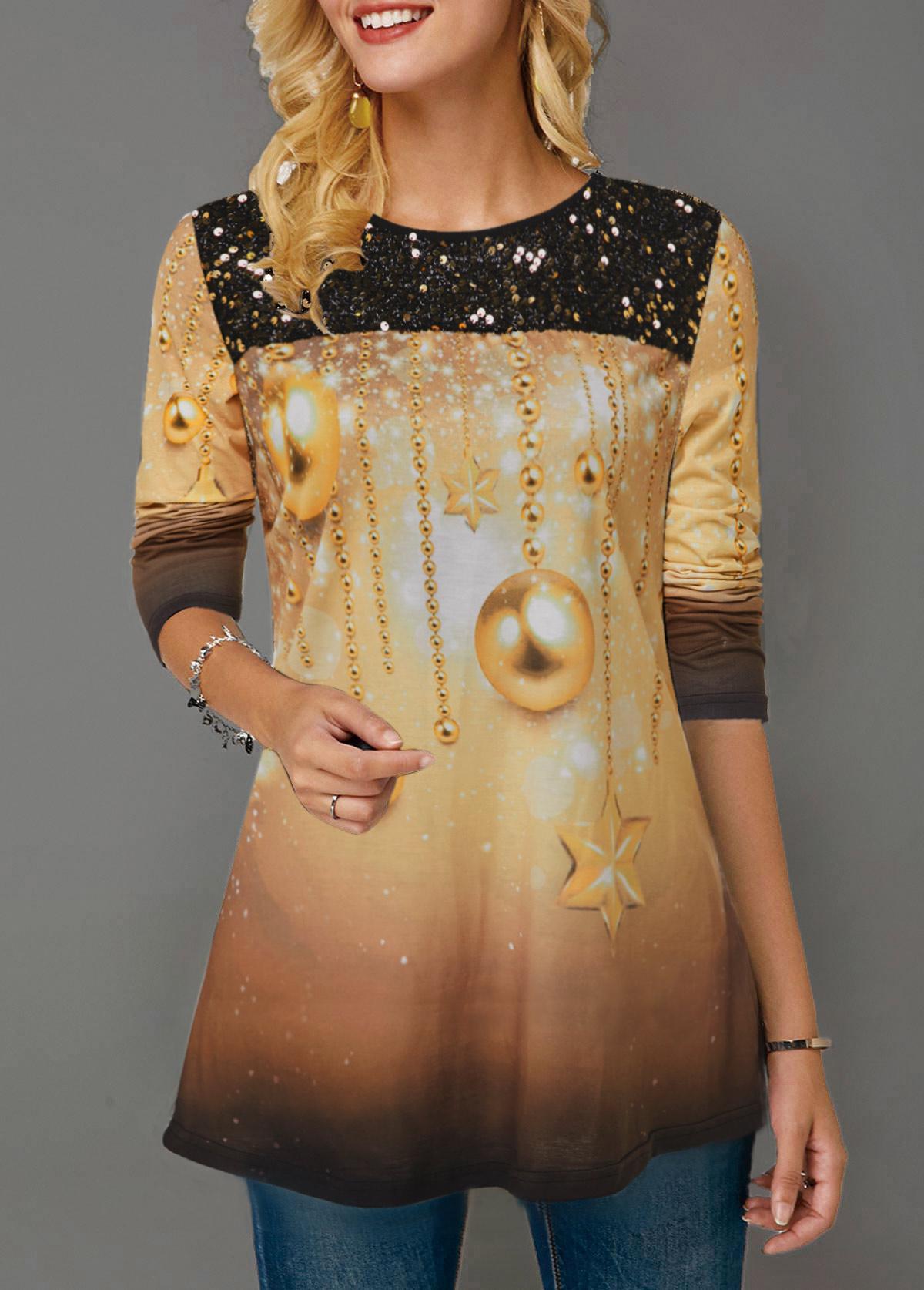 ROTITA Christmas Print Sequin Panel Gradient T Shirt