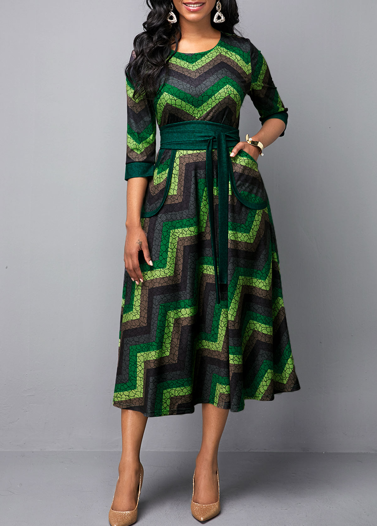 Multi Color Round Neck Belted Printed Dress