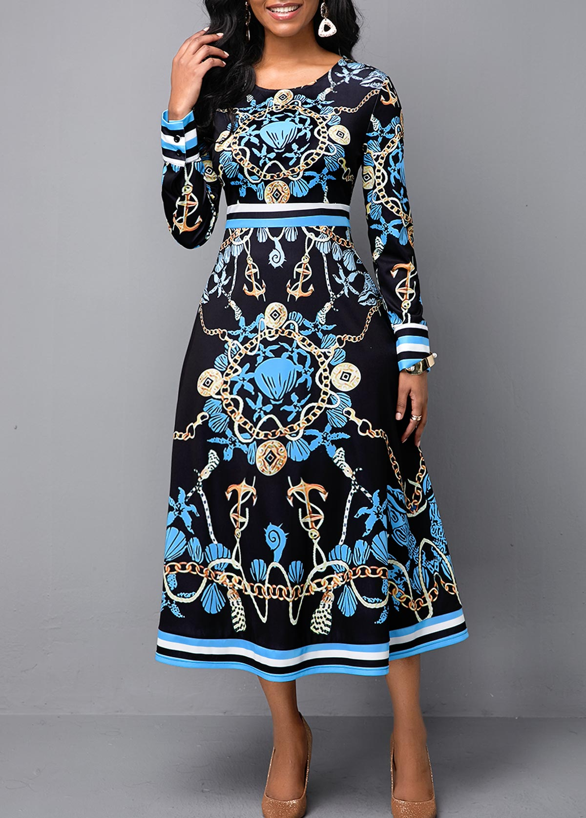 Long Sleeve High Waist Tribal Print Dress