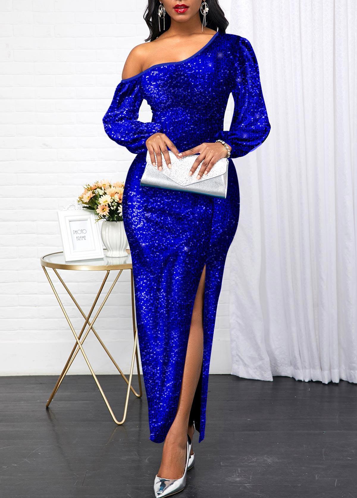 Sequin Panel Royal Blue Side Slit Maxi Dress