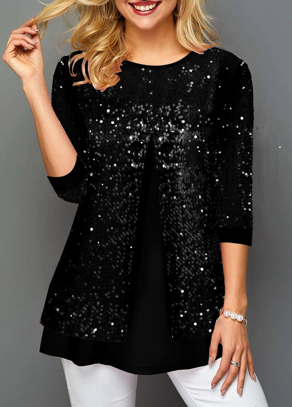 Sequin Detail Black Faux Two Piece T Shirt