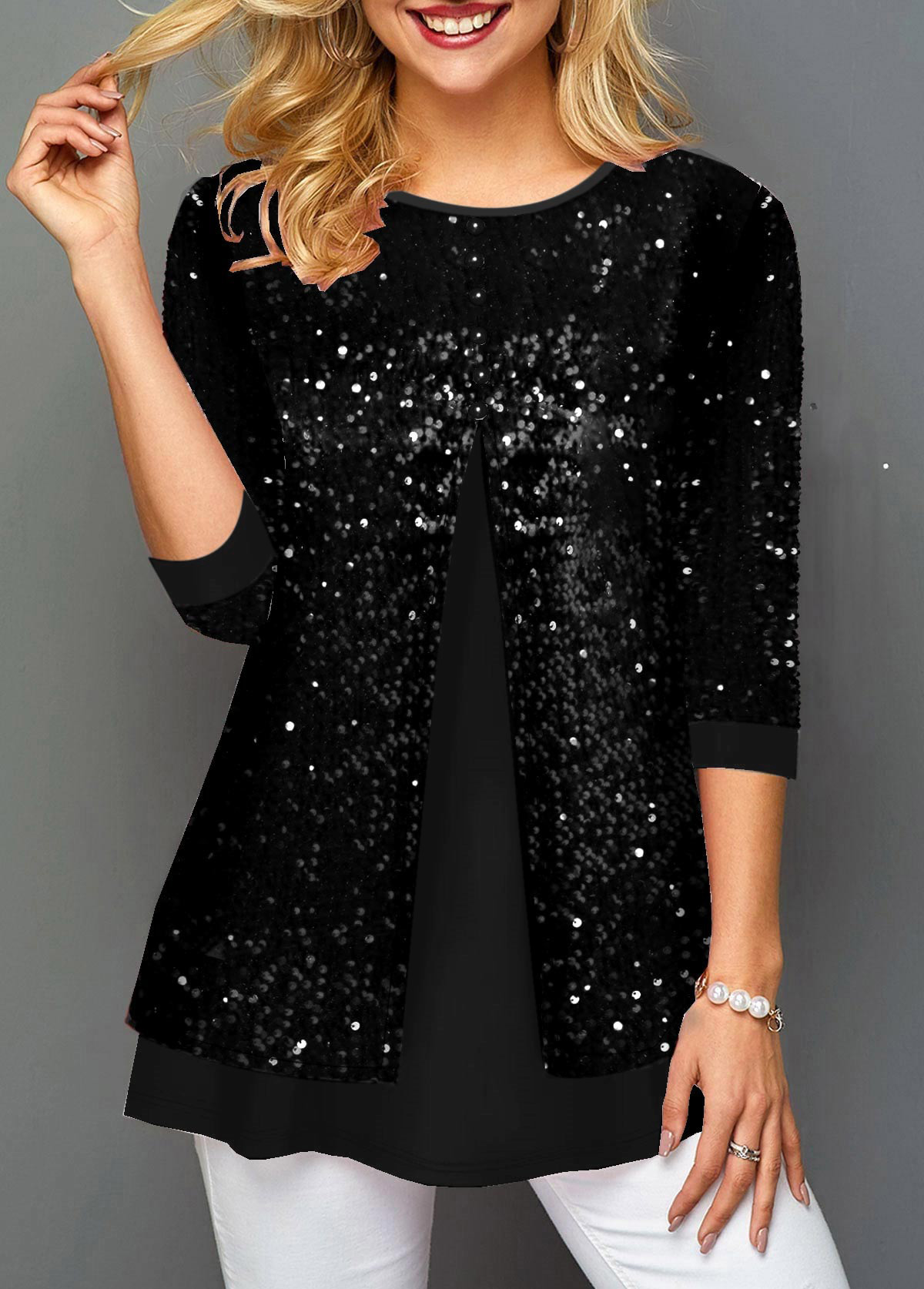 ROTITA Sequin Detail Black Faux Two Piece T Shirt