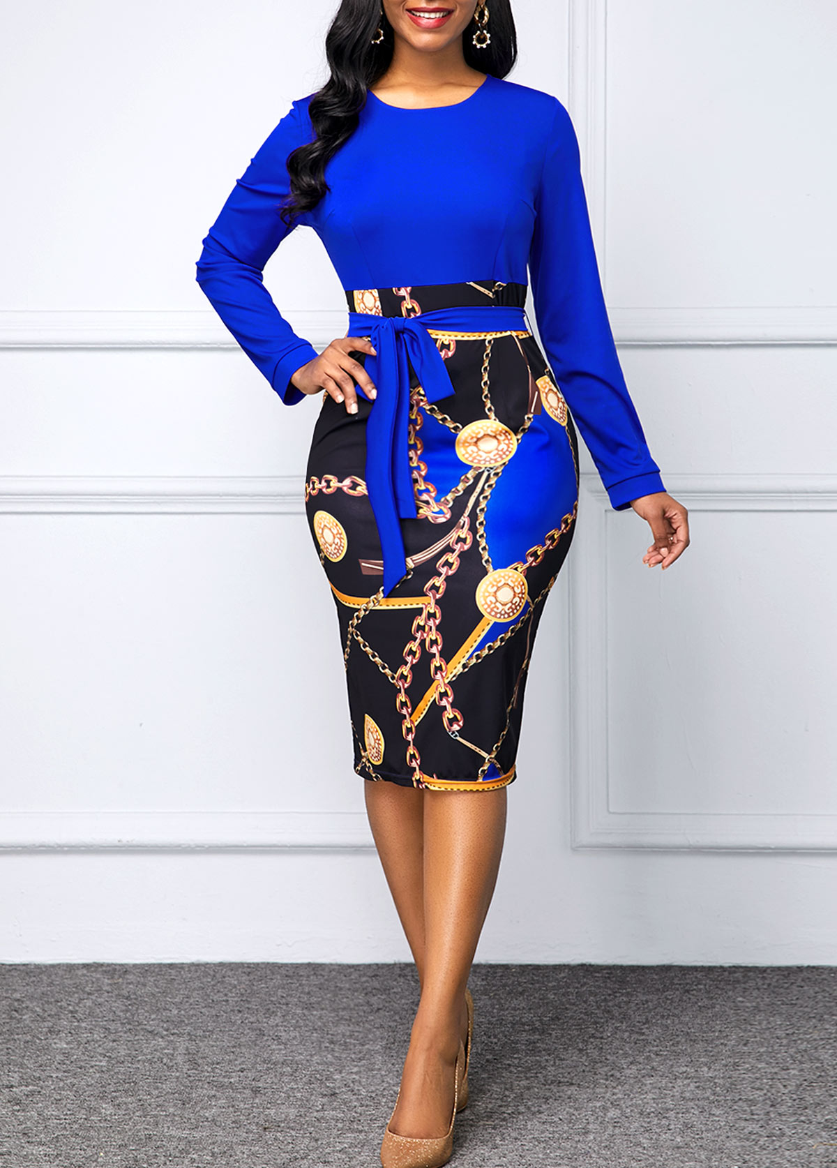 Long Sleeve Printed Belted Bodycon Dress