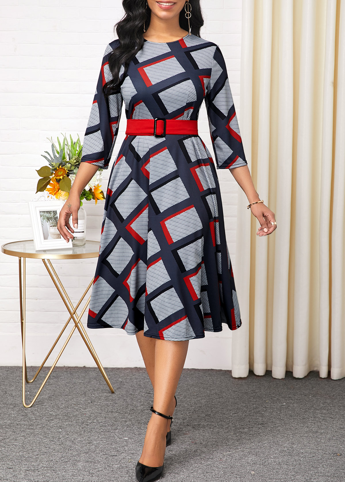 Belted Plaid Print Long Sleeve Round Neck Dress