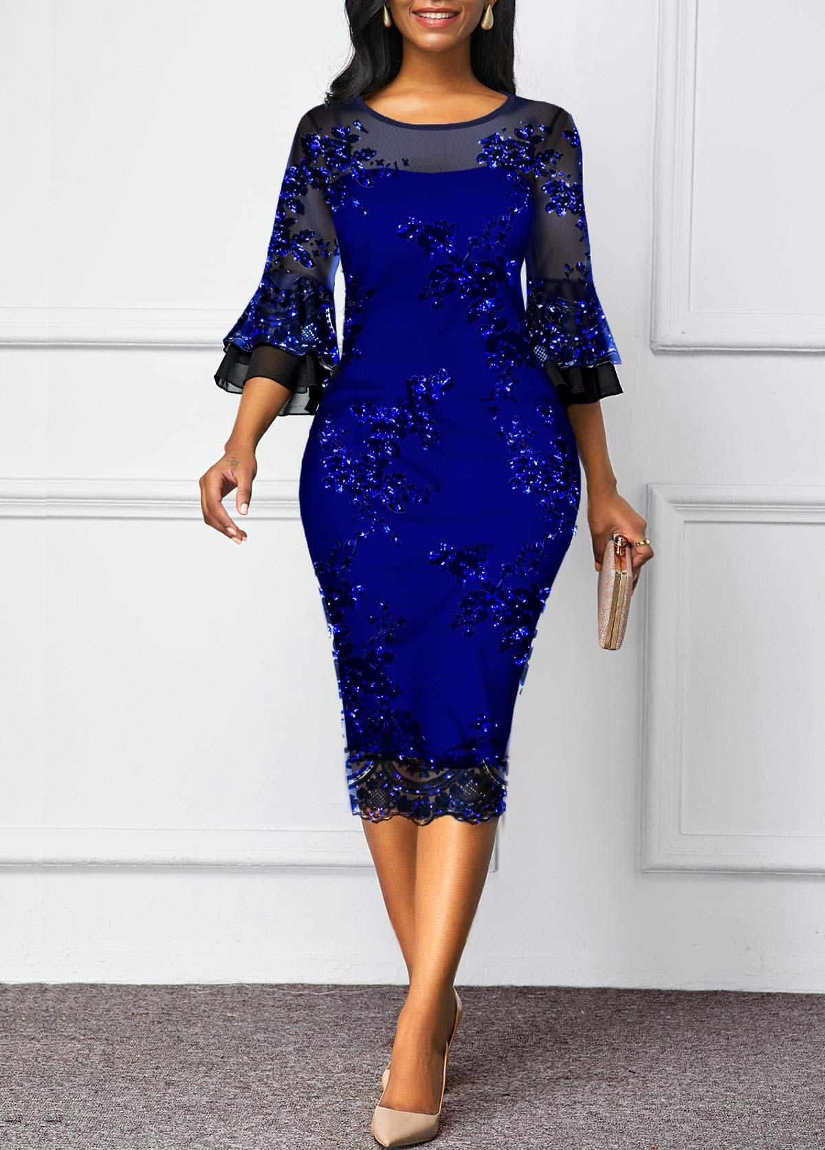 Mesh Panel Sequin Detail Flare Sleeve Sheath Dress