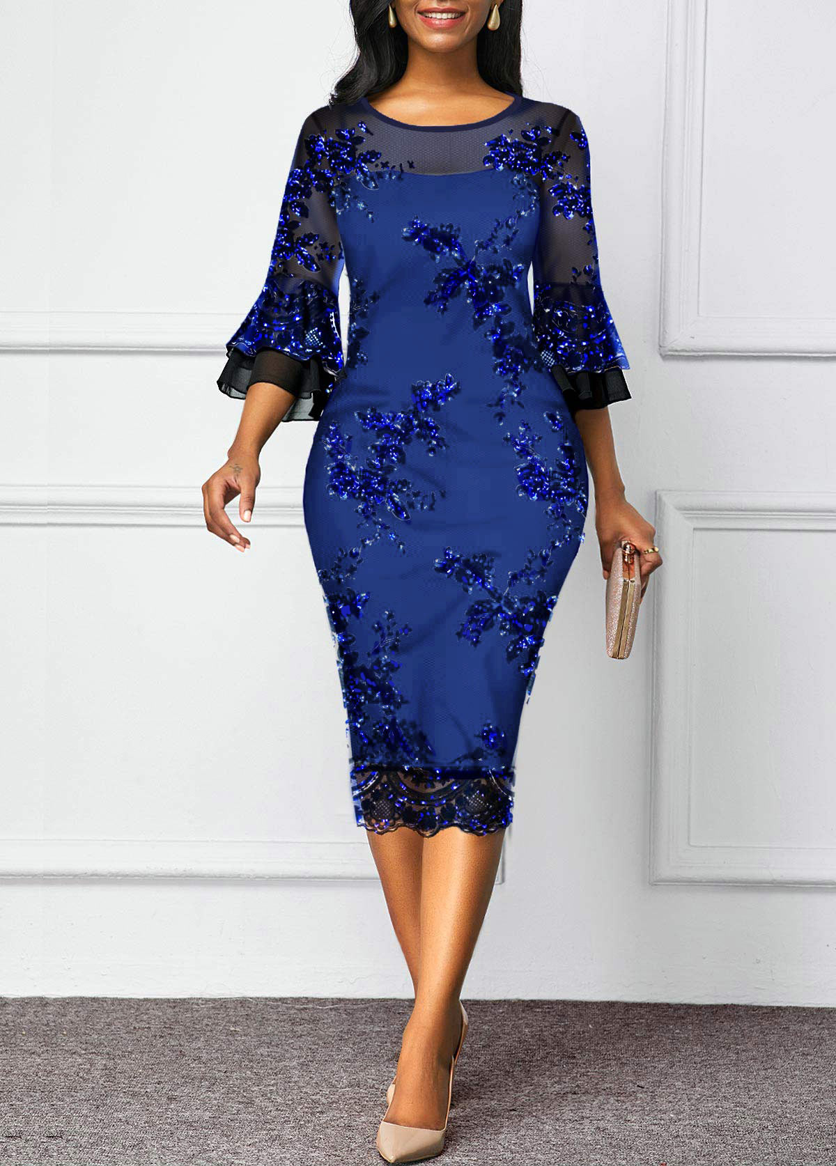 Mesh Panel Sequin Detail Flare Sleeve Sheath Dress