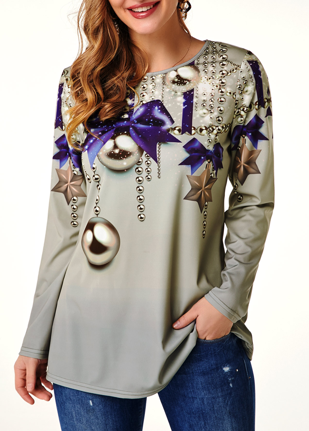 ROTITA Bowknot Print Long Sleeve Round Neck T Shirt