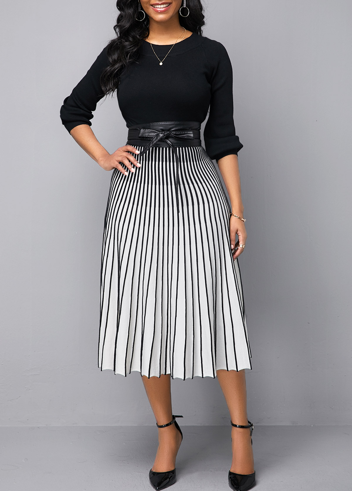 Vertical Striped Tie Waist Round Neck Sweater Dress