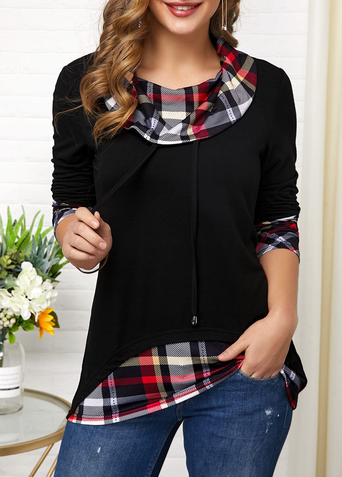 Long Sleeve Cowl Neck Plaid Print T Shirt