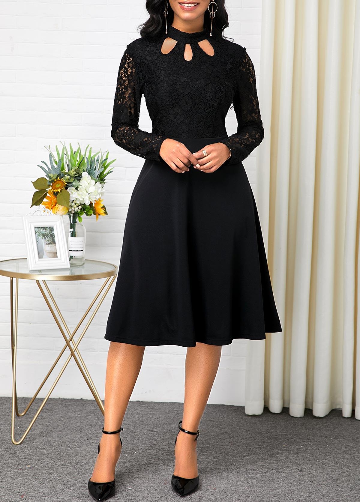 Long Sleeve Black Lace Patchwork Dress