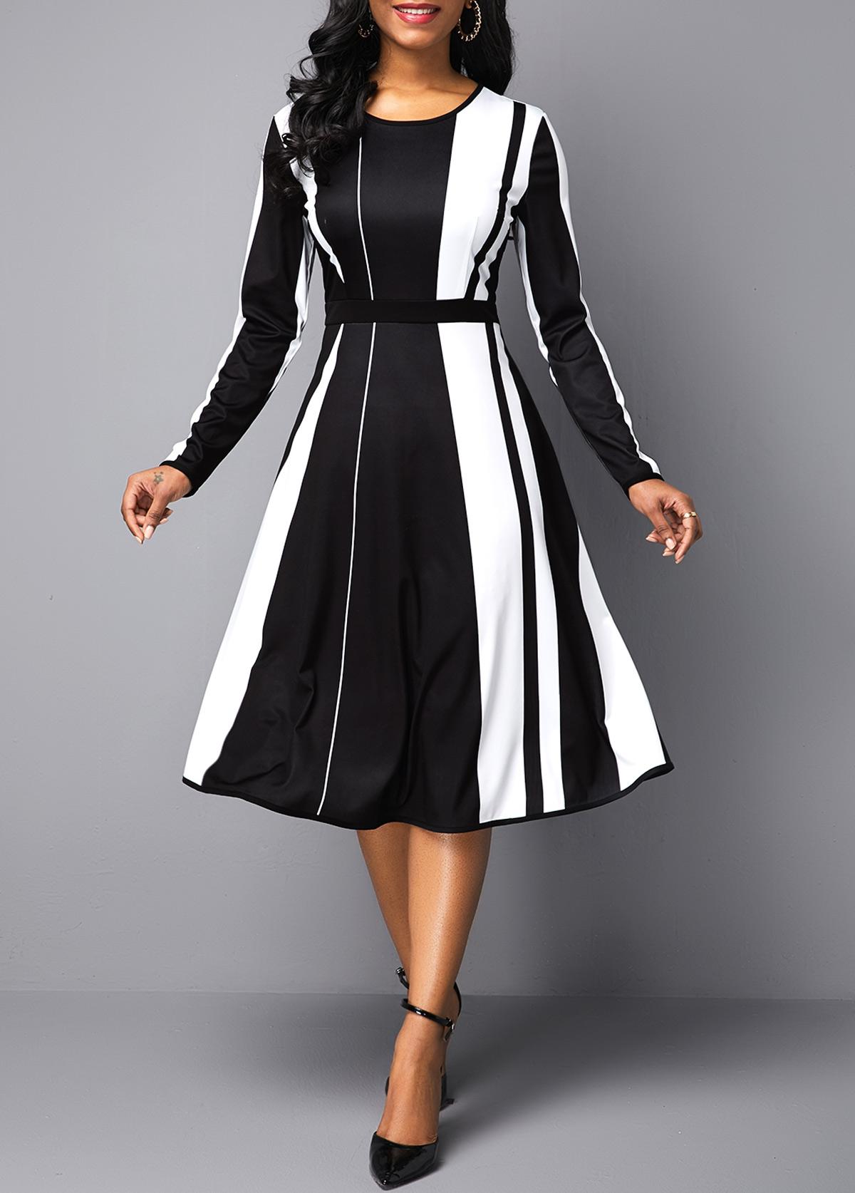 ROTITA Color Block Round Neck Long Sleeve Dress