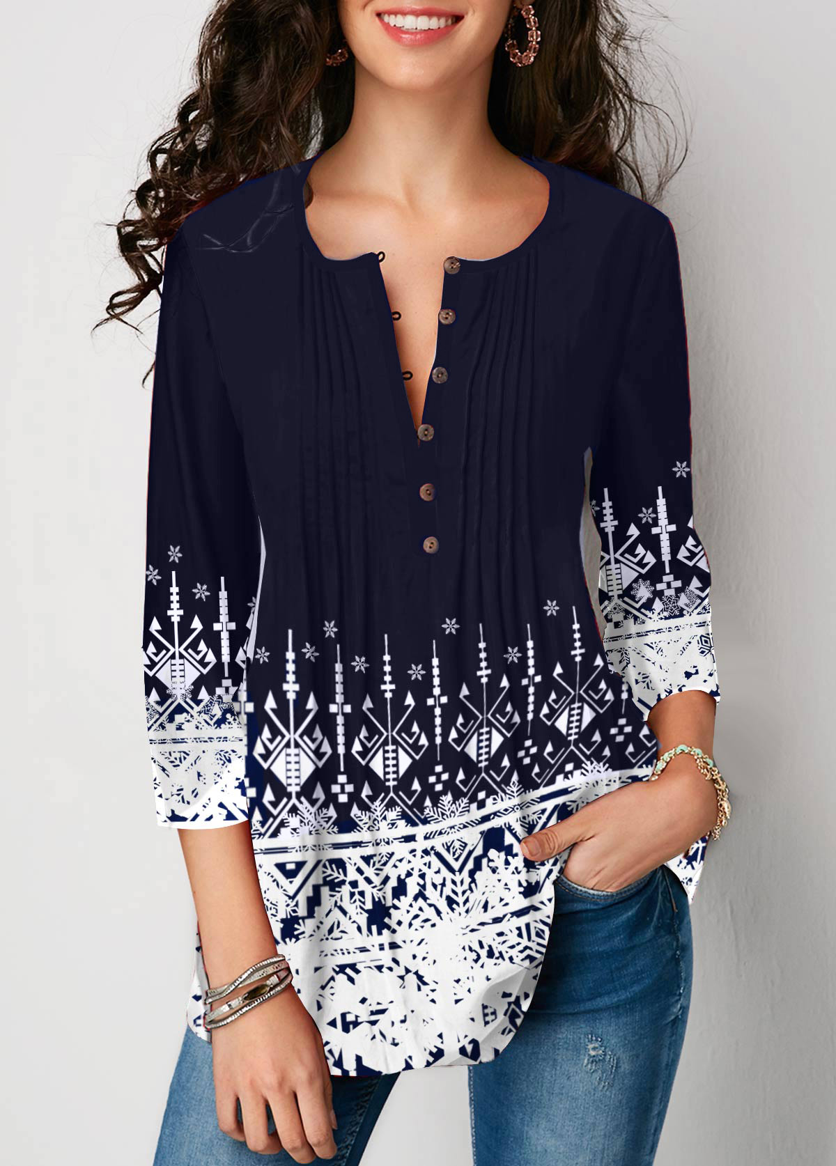 Crinkle Chest Three Quarter Sleeve Printed Blouse