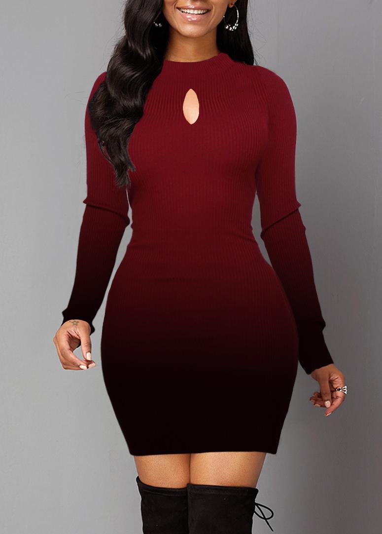 Gradient Long Sleeve Lace Panel Sweater Dress