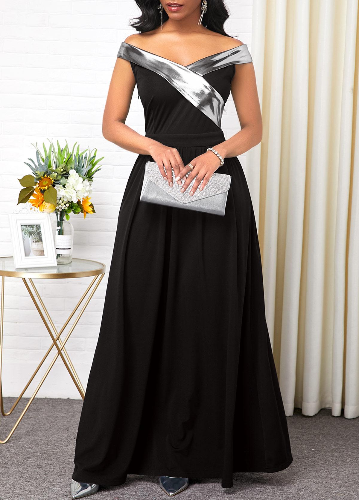 Sparkle Panel Black Short Sleeve Maxi Dress