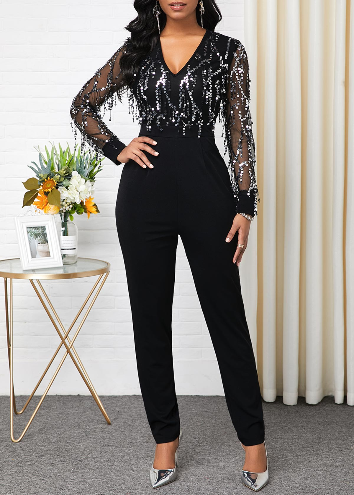 ROTITA Sequin Panel Long Sleeve V Neck Jumpsuit