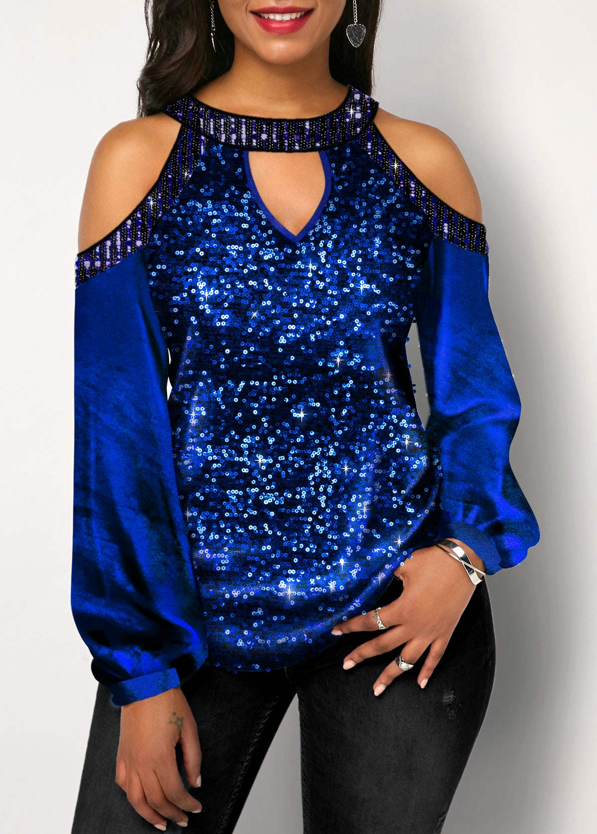 Cold Shoulder Keyhole Neckline Sequin Detail Blouse