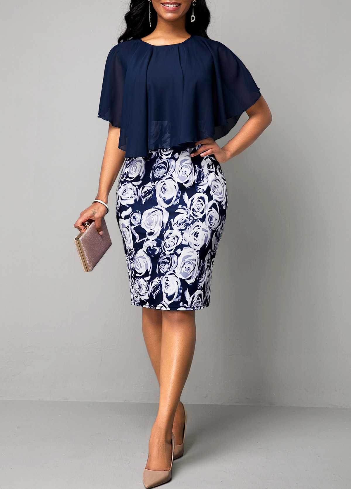 ROTITA Navy Blue Faux Two Piece Flower Print Dress