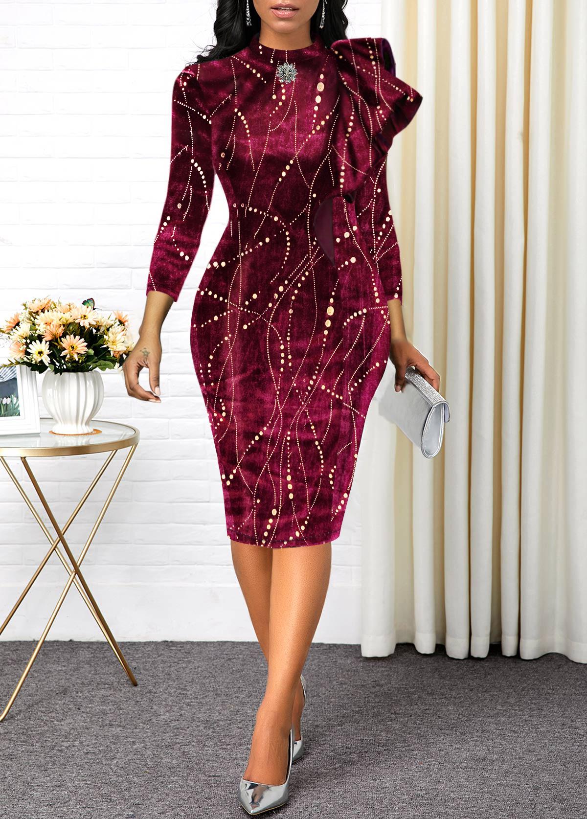 Three Quarter Sleeve Hot Stamping Velvet Dress
