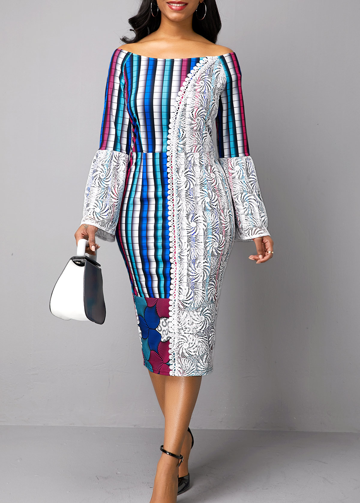 Printed Long Sleeve Lace Patchwork Dress