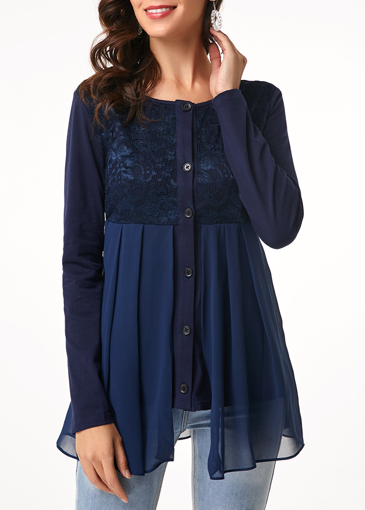 Lace Patchwork Long Sleeve Button Up Blouse